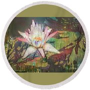 Lovely Waterlilies 2 Round Beach Towel