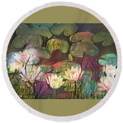 Lovely Waterlilies 3 Round Beach Towel