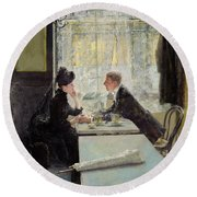 Lovers In A Cafe Round Beach Towel