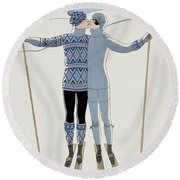 Lovers In The Snow Round Beach Towel by Georges Barbier