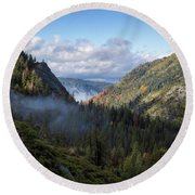 Round Beach Towel featuring the photograph Lovers Leap Autumn by Mitch Shindelbower