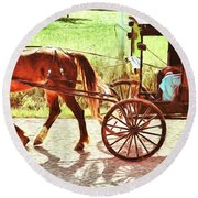 Lovers Red Pony Round Beach Towel