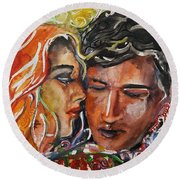 Lovers Round Beach Towel by Rita Fetisov