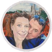 Lovers Selfie In York, England Round Beach Towel