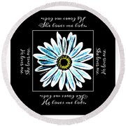 Loves Me In Blue Round Beach Towel