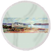 Round Beach Towel featuring the painting Lovie by Patricia Piffath