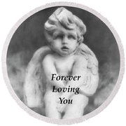 Loving Angel  Round Beach Towel