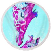 Round Beach Towel featuring the digital art Loving Giraffes- Magenta by Jane Schnetlage