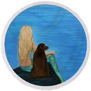 Round Beach Towel featuring the painting Loving Lab Loyalty by Leslie Allen