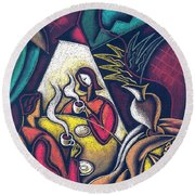 Round Beach Towel featuring the painting Loving Relationship by Leon Zernitsky
