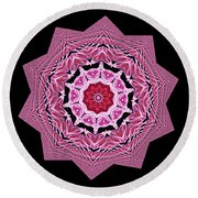 Loving Rose Mandala By Kaye Menner Round Beach Towel