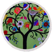 Round Beach Towel featuring the painting Loving Tree Of Life by Pristine Cartera Turkus