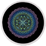 Round Beach Towel featuring the painting Loving Truly by Keiko Katsuta