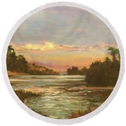 Low Country Sunset Round Beach Towel