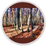 November Light Round Beach Towel