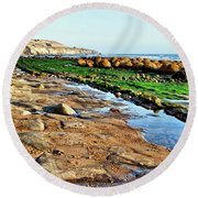 Low Tide At Bowling Ball Beach Round Beach Towel