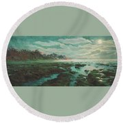 Low Tide At Moonlight Round Beach Towel