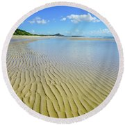 Low Tide Beach Ripples Round Beach Towel