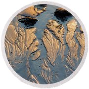 Round Beach Towel featuring the photograph Low Tide Flow, Kettle Cove, Cape Elizabeth, Maine  -66557 by John Bald