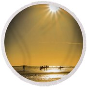 Round Beach Towel featuring the photograph Low Tide by Mitch Shindelbower