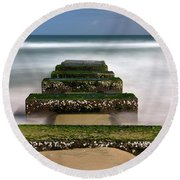 Low Tide Reveal Round Beach Towel