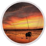 Low Tide Sunset Sailboats Round Beach Towel