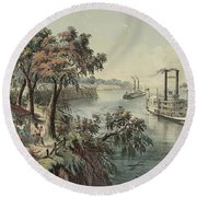 Low Water In The Mississippi, 1868  Round Beach Towel
