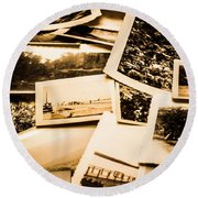 Lowdown On A Vintage Photo Collections Round Beach Towel