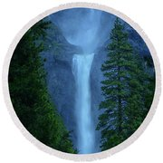 Lower And Middle Yosemite Falls Round Beach Towel