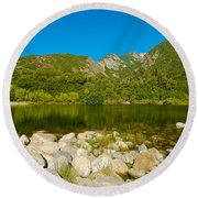 Lower Bells Canyon Reservoir Round Beach Towel