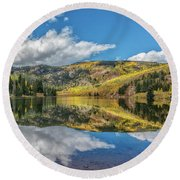 Lower Cataract Lake Aspen Round Beach Towel