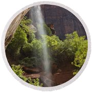 Lower Emerald Pool Falls In Zion Round Beach Towel