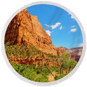 Round Beach Towel featuring the photograph Lower Emerald Pool Trail - Zion National Park by Penny Lisowski