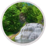 Round Beach Towel featuring the photograph Lower Falls 0485 by Guy Whiteley