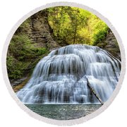 Lower Falls At Treman State Park Round Beach Towel