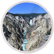 Lower Falls From Artist Point Round Beach Towel