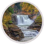 Lower Falls In Autumn Round Beach Towel