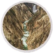 Lower Falls Of The Yellowstone - Portrait Round Beach Towel