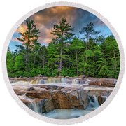 Lower Falls On Kancamagus Highway Round Beach Towel