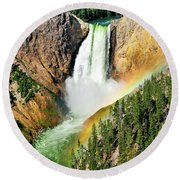 Lower Falls Rainbow Round Beach Towel by Greg Norrell