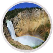 Lower Falls With A Rainbow Round Beach Towel