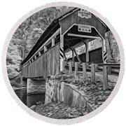 Lower Humbert Covered Bridge 2 - Paint Bw Round Beach Towel