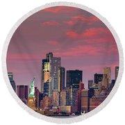 Lower Manhattan In Pink Round Beach Towel