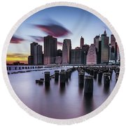 Lower Manhattan Purple Sunset Round Beach Towel