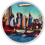 Lower Manhattan Skyline New York City Round Beach Towel