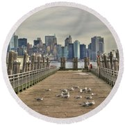 Lower Manhattan Round Beach Towel by Timothy Lowry