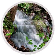 Lower Massanutten Spring Waterfall 2016 Round Beach Towel