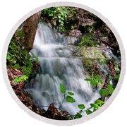 Lower Massanutten Spring Waterfall 2016 Round Beach Towel
