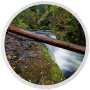 Lower Punch Bowl Falls Round Beach Towel by Jonathan Davison