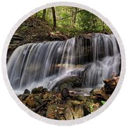 Lower Tews Falls Round Beach Towel